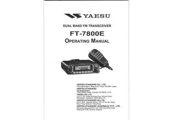 Yaesu FT-7800E - Operating Manual english