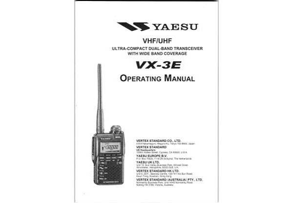 Yaesu VX-3E - Operating Manual english