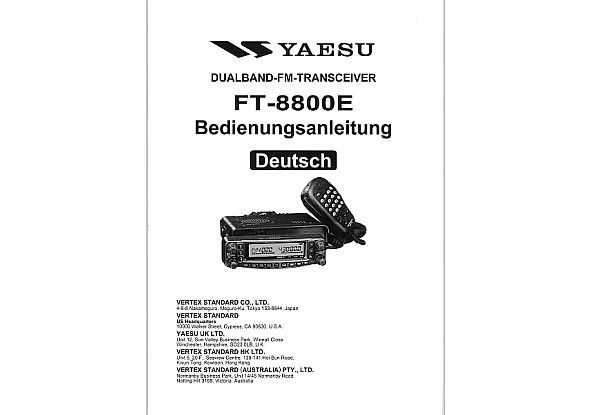 Yaesu FT-8800R/E - Operating Manual english